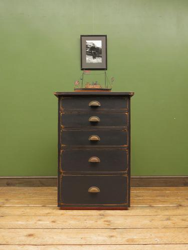Vintage Industrial Black Painted Chest of Drawers, Office or Workshop Chest (1 of 12)