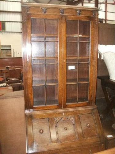 Glazed Oak Bureau Bookcase (1 of 7)