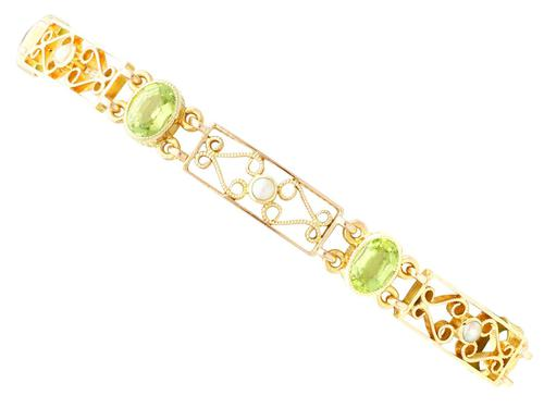 5.34ct Peridot & Pearl, 15ct Yellow Gold Bracelet - Antique c.1900 (1 of 9)