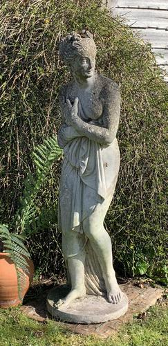 Weathered Patinated Garden Statue the Bath of Venus (1 of 6)