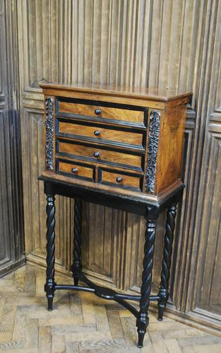 Walnut Collectors Cabinet on Stand (1 of 9)