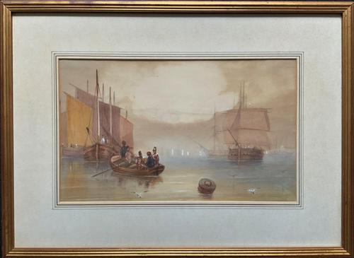 19th Century British School - Masted Ships - Military - Marine - Watercolour Painting (1 of 10)