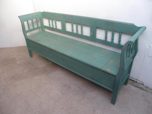 A Shabby Chic Green 4 Seater Antique/Old Pine Kitchen/Hall Box Settle/ Bench (1 of 10)