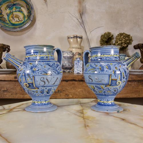 Pair of Mid 17th Century Italian Majolica Berettino Wet Drug Jars (1 of 11)