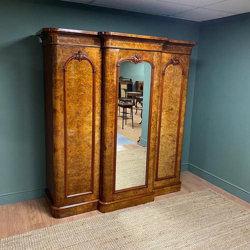 Spectacular Quality Figured Burr Walnut Antique Triple Wardrobe (1 of 10)