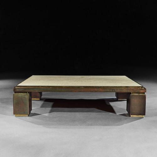 Mid-Century Modern Copper, Brass And Travertine Rectangular Coffee Table (1 of 5)