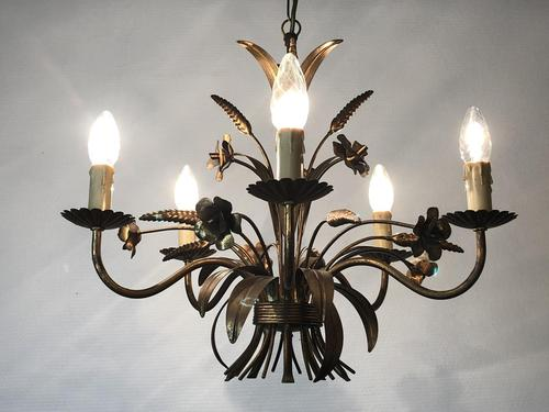 Vintage French 5 Arm Gilt Wheatsheaf & Floral Toleware Chandelier (1 of 9)