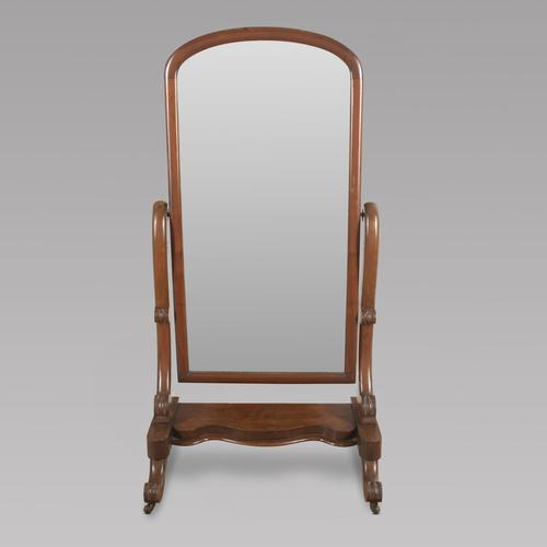 Victorian Arched Top Mahogany Cheval Mirror (1 of 4)