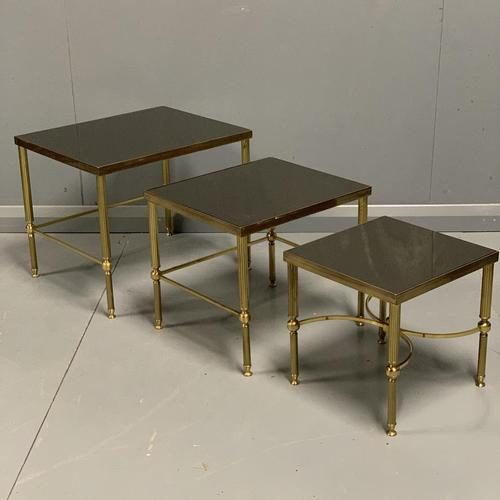 Nest of 3 Brass & Dark Glass Tables (1 of 6)