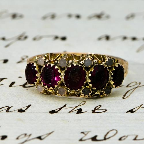 The Antique Victorian 1890 Garnet & Stone Ring (1 of 4)