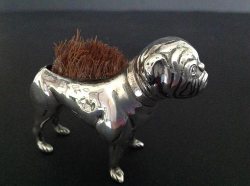 Antique Edwardian Silver Bulldog Pen Wipe - 1906 (1 of 5)