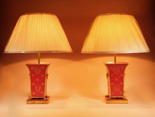 Pair of Very Decorative Toleware Table Lamps in the Regency / Empire Style c.1960 (1 of 6)