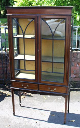 1920s Mahogany 2 Door Glass China Cabinet with Drawers (1 of 5)