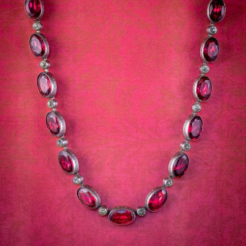 Art Deco Red Paste Riviere Necklace Silver c.1920 (1 of 8)