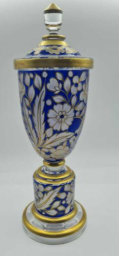 Antique Fritz Heckert Glass Vase with Cover, Large Trumpet Vase - Signed (1 of 8)