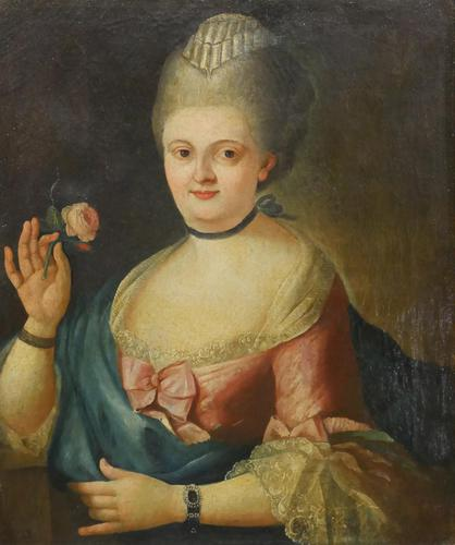 18th Century Oil Painting Portrait Lady In Pink Silk Dress Holding A Rose (1 of 62)