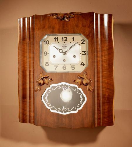 Westminster Girod Carillon Walnut, Rosewood Wall Clock French c.1940 (1 of 8)