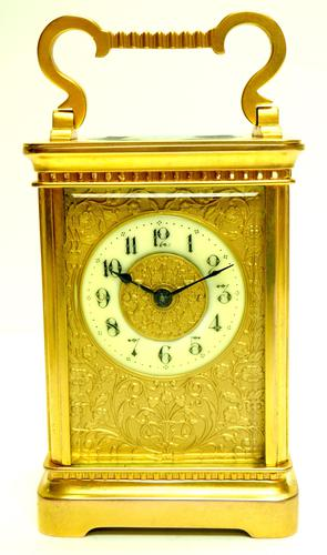 Good Antique French 8-day Carriage Clock Bevelled Case with Embossed Decorated Masked Dial (1 of 12)