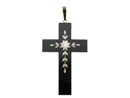 Black Onyx, Diamond, Yellow Gold Cross Pendant (1 of 9)