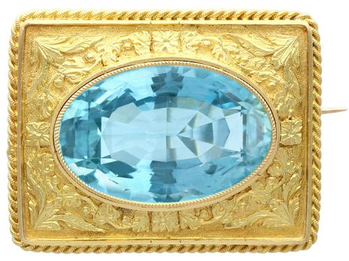 10.46ct Aquamarine & 18ct Yellow Gold Brooch - Antique c.1900 (1 of 9)