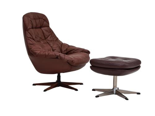 H.W.Klein, Danish swivel armchair, 70s, leather, original upholstery, very good condition (1 of 19)
