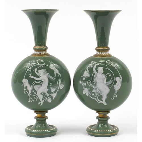 Pair of 19th Century pate sur pate Green Jewelled Glass Vases (1 of 4)