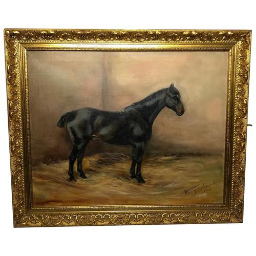 Oil Painting Portrait Study Black Horse in Stable Signed Alice Mary Burton RBA '1893-1968' (1 of 26)