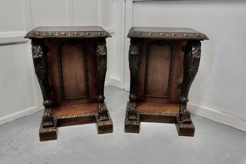 Pair of 19th Century Art Nouveau Gothic Carved Oak Console Pedestals (1 of 11)