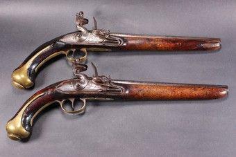 Pair of mid 18th Century Continental Flintlock Holster Pistols (1 of 7)