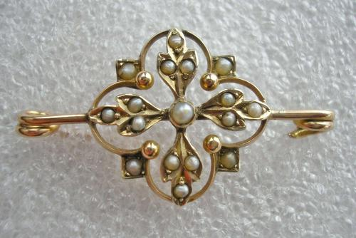 Victorian 9ct Gold & Seed Pearl Brooch (1 of 3)