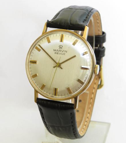 Gents 9ct Gold Marvin Revue Wrist Watch (1 of 4)