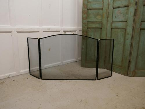 Large Folding Brass and Iron Fire Guard for Inglenook Fireplace (1 of 1)