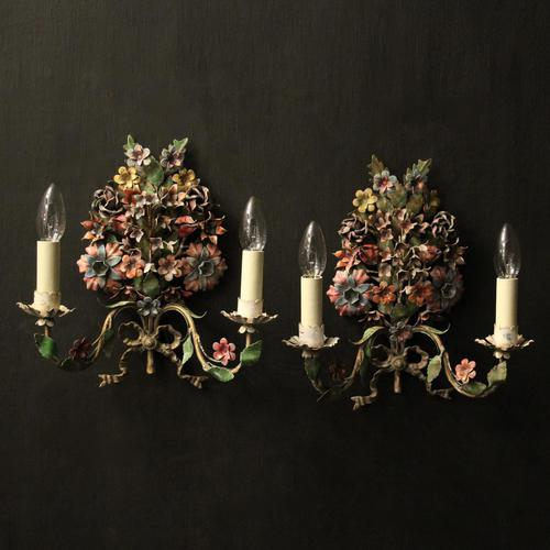 French Pair of Toleware Floral Wall Lights (1 of 10)
