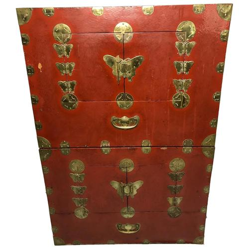 Pair of Late Qing Antique Chinese Dowry Marriage Wedding Brass Bound Red Lacquer Chests (1 of 54)