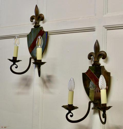 Pair of Wrought Iron Heraldic Shield Shaped Girandole Wall Mirrors (1 of 7)
