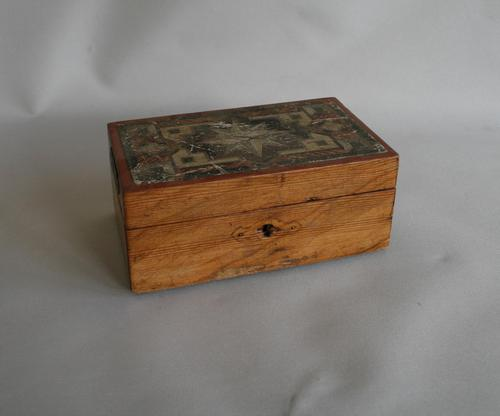 Pitch Pine Money Box with a Transfer Pattern to the Lid (1 of 4)