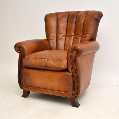 Antique French Style Leather  Club  Armchair (1 of 6)