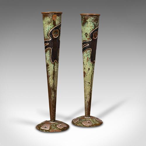Pair of Antique Flute Vases, French, Copper, Posy, Art Nouveau Taste c.1920 (1 of 12)