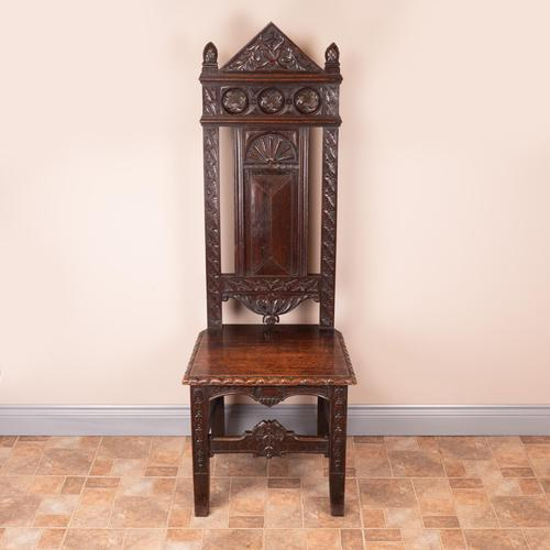 Carved Oak High Backed Side Chair (1 of 9)