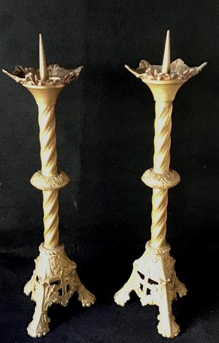 Pair of Tall Victorian Gilt Cast Metal Pricket Candlesticks (1 of 6)