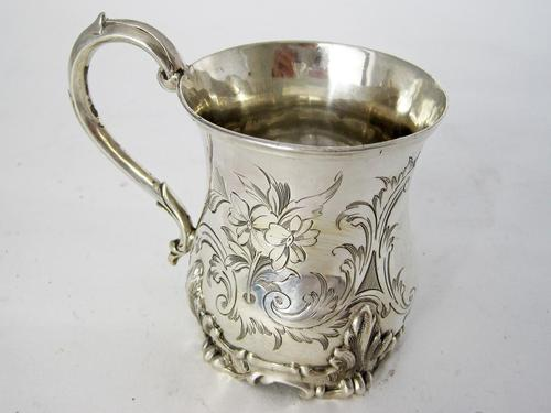 Early Victorian Inverted Bell Shaped Silver Christening Mug (1 of 6)
