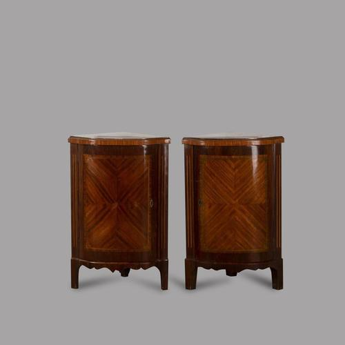 Pair of French Directoire Corner Cabinets with Mirrored Interiors and Marble Tops (1 of 4)