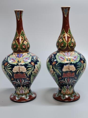 Stunning Pair of Royal Bonn Art Nouveau Vases 'Old Dutch' c.1910 (1 of 14)