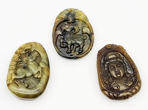 Set of Three Vintage Chinese Jade Pendants Hand Carved (1 of 6)