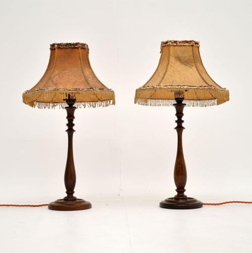 Pair of Antique Walnut Table Lamps with Parchment Shades (1 of 7)