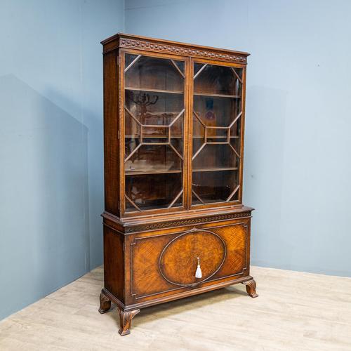 Mahogany & Burr Walnut Glazed Bookcase (1 of 11)