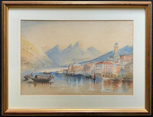 Large Lake in Italy - Beautiful 1930s Watercolour Landscape Painting (1 of 9)