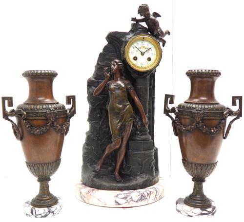 Art Nouveau Figural Mantel Clock Set 8 Day (1 of 11)