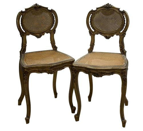 Pair of Antique Carved Giltwood & Cane Rout Chairs (1 of 8)