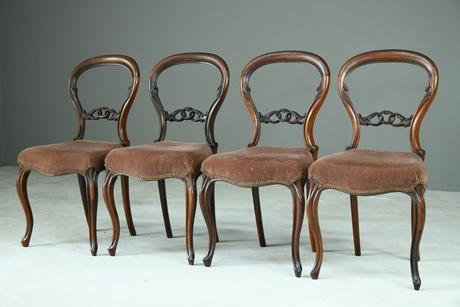 Set of 4 Rosewood Balloon Back Dining Chairs (1 of 12)